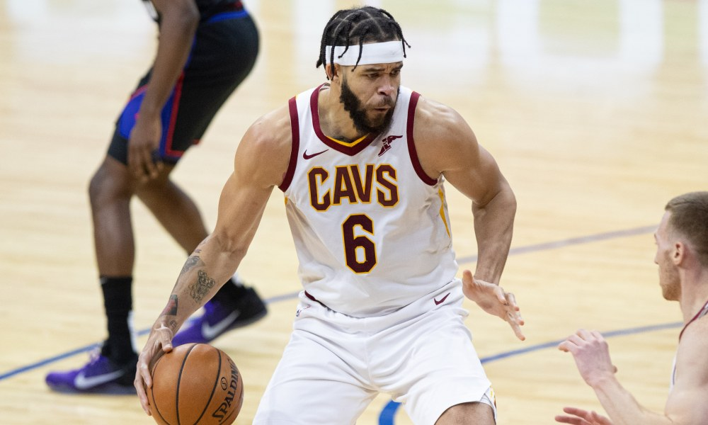 Feb 27, 2021; Philadelphia, Pennsylvania, USA; Cleveland Cavaliers center JaVale McGee (6) dribbles the ball against the Philadelphia 76ers during the first quarter at Wells Fargo Center.