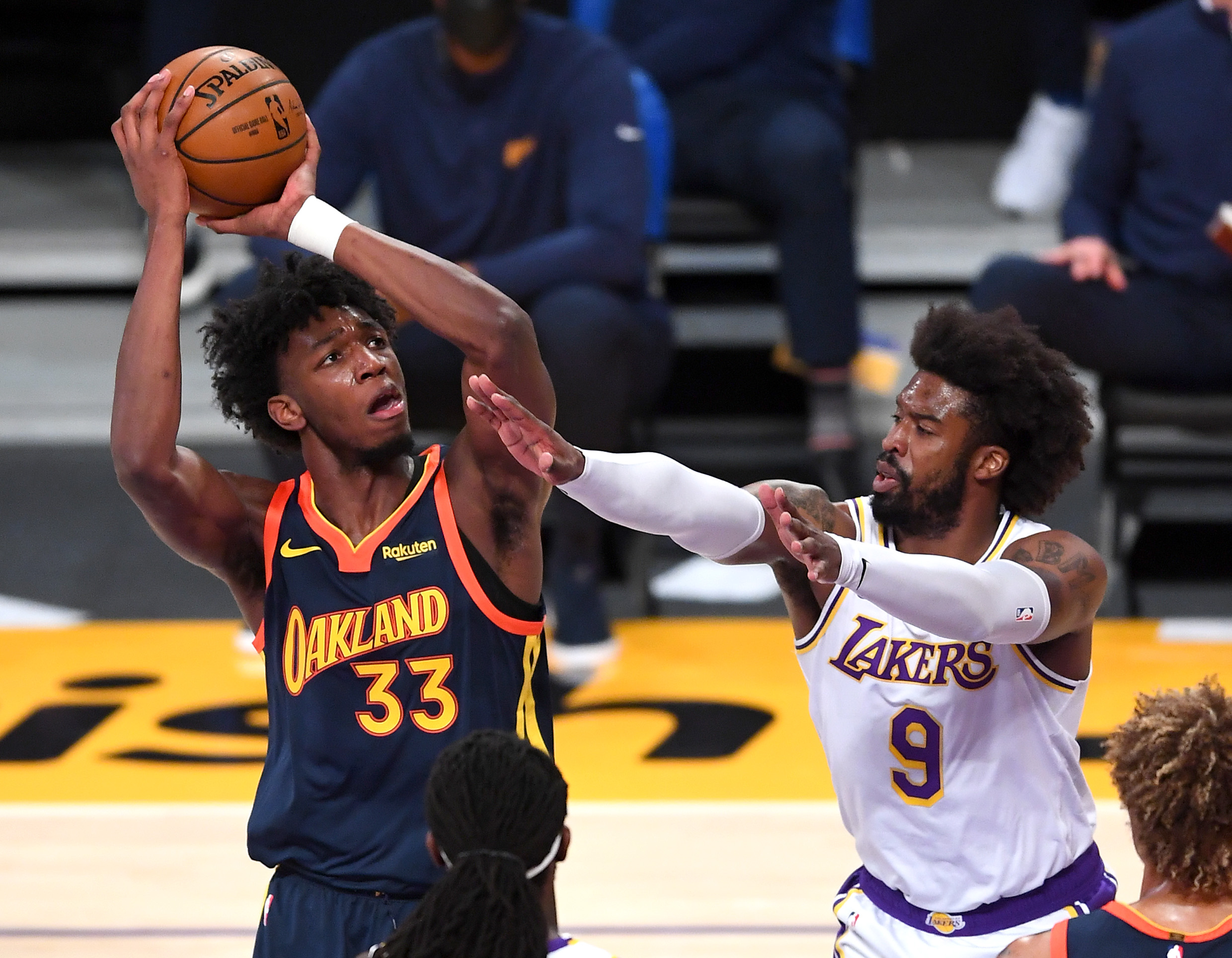 Feb 28, 2021; Los Angeles, California, USA; Golden State Warriors center James Wiseman (33) takes a shot over Los Angeles Lakers guard Wesley Matthews (9) in the first half of the game at Staples Center.