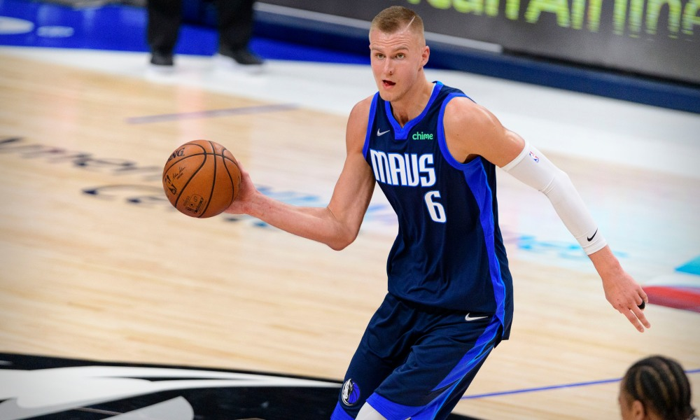 Mar 10, 2021; Dallas, Texas, USA; Dallas Mavericks center Kristaps Porzingis (6) in action during the game between the Dallas Mavericks and the San Antonio Spurs at the American Airlines Center. Mandatory Credit: