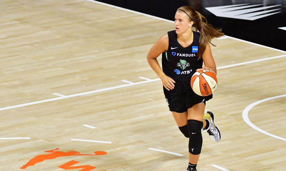 PALMETTO, FLORIDA - JULY 29: Sabrina Ionescu #20 of the New York Liberty brings the ball in during the second half of a game against the Dallas Wings at Feld Entertainment Center on July 29, 2020 in Palmetto, Florida. NOTE TO USER: User expressly acknowledges and agrees that, by downloading and or using this photograph, User is consenting to the terms and conditions of the Getty Images License Agreement.