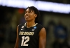 INDIANAPOLIS, INDIANA - MARCH 22: Jabari Walker #12 of the Colorado Buffaloes reacts during the second half against the Florida State Seminoles in the second round game of the 2021 NCAA Men's Basketball Tournament at Indiana Farmers Coliseum on March 22, 2021 in Indianapolis, Indiana.