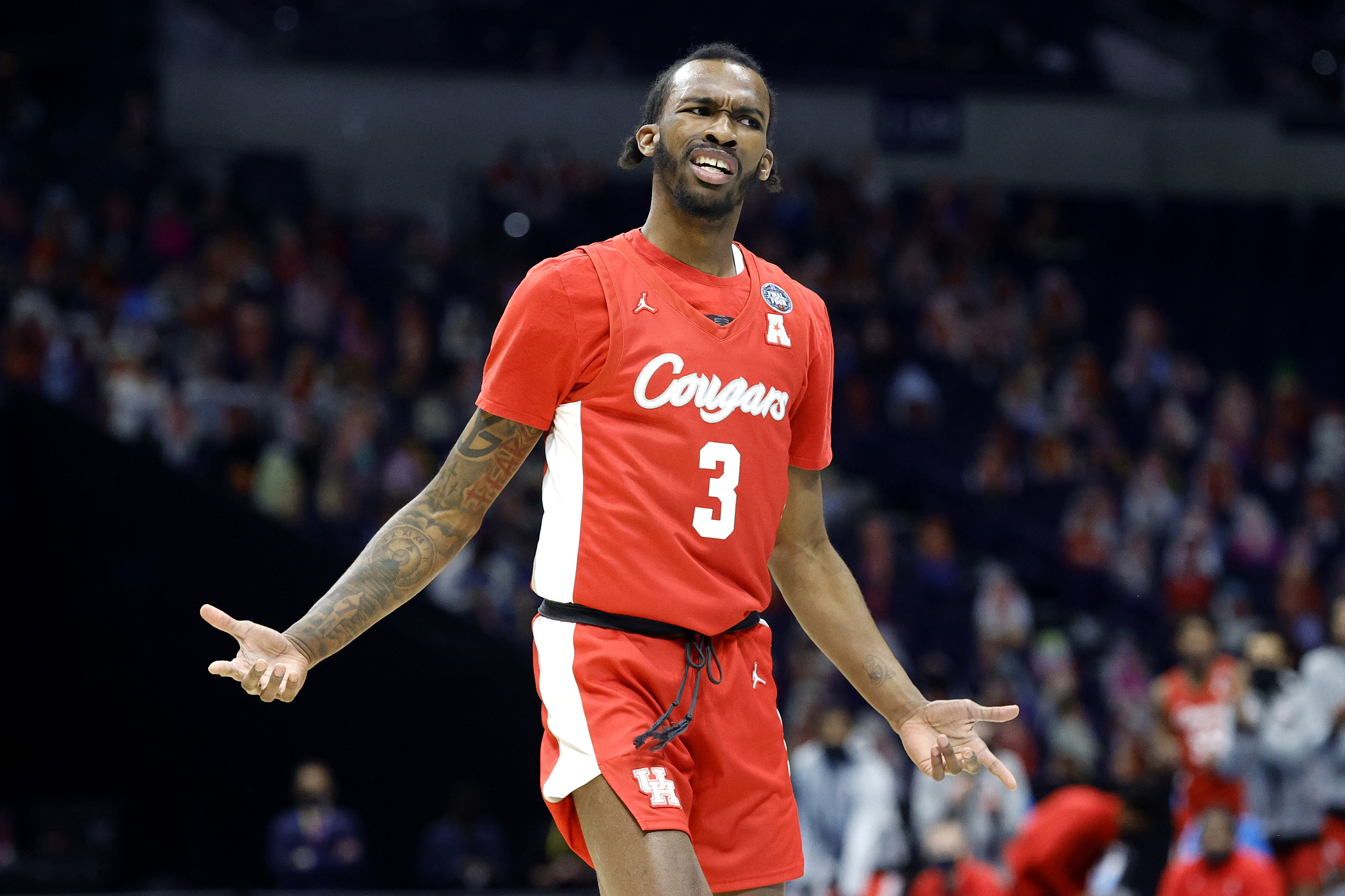 INDIANAPOLIS, INDIANA - APRIL 03: DeJon Jarreau #3 of the Houston Cougars reacts in the first half against the Baylor Bears during the 2021 NCAA Final Four semifinal at Lucas Oil Stadium on April 03, 2021 in Indianapolis, Indiana.