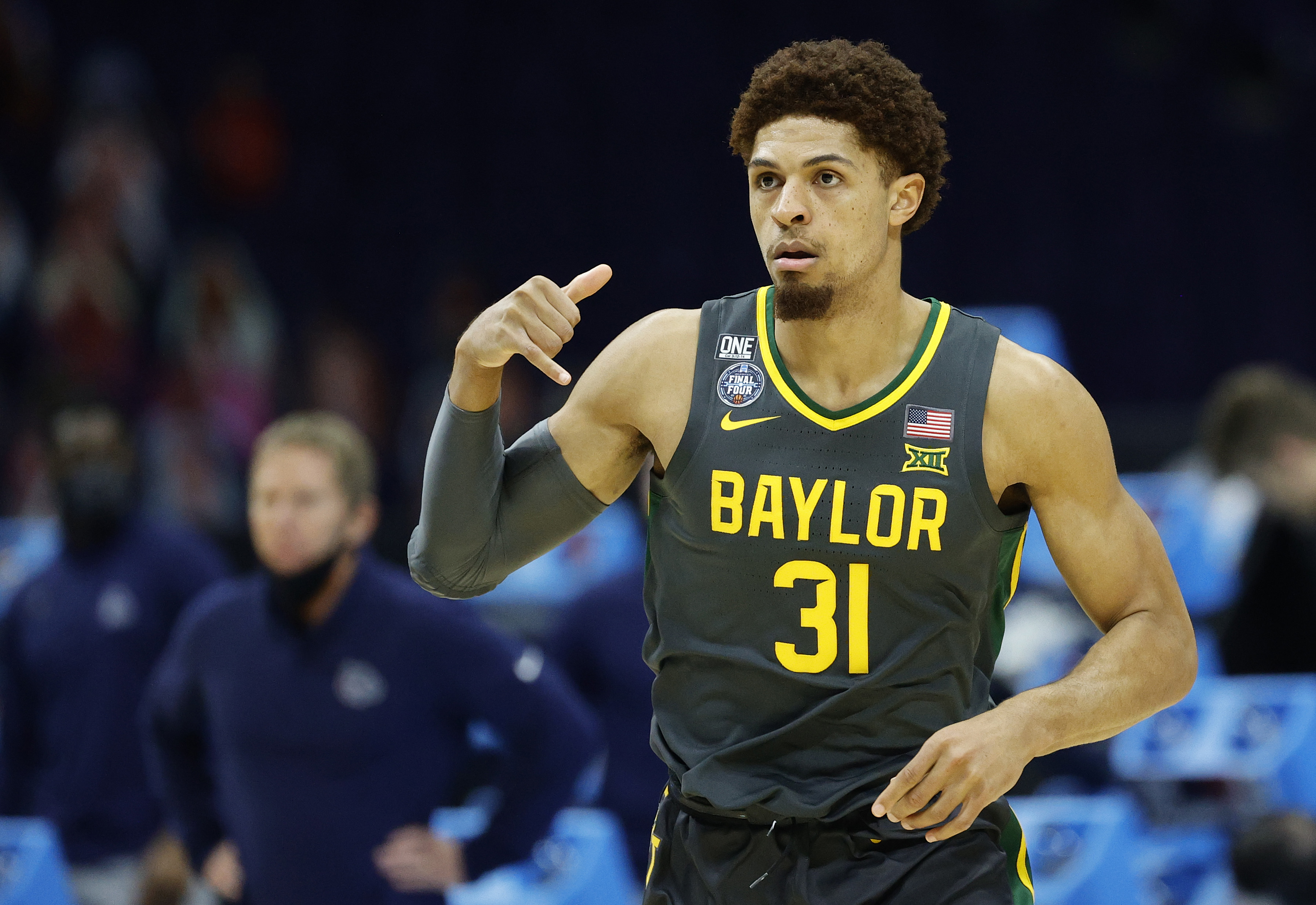 INDIANAPOLIS, INDIANA - APRIL 05: MaCio Teague #31 of the Baylor Bears reacts against the Gonzaga Bulldogs in the National Championship game of the 2021 NCAA Men's Basketball Tournament at Lucas Oil Stadium on April 05, 2021 in Indianapolis, Indiana.