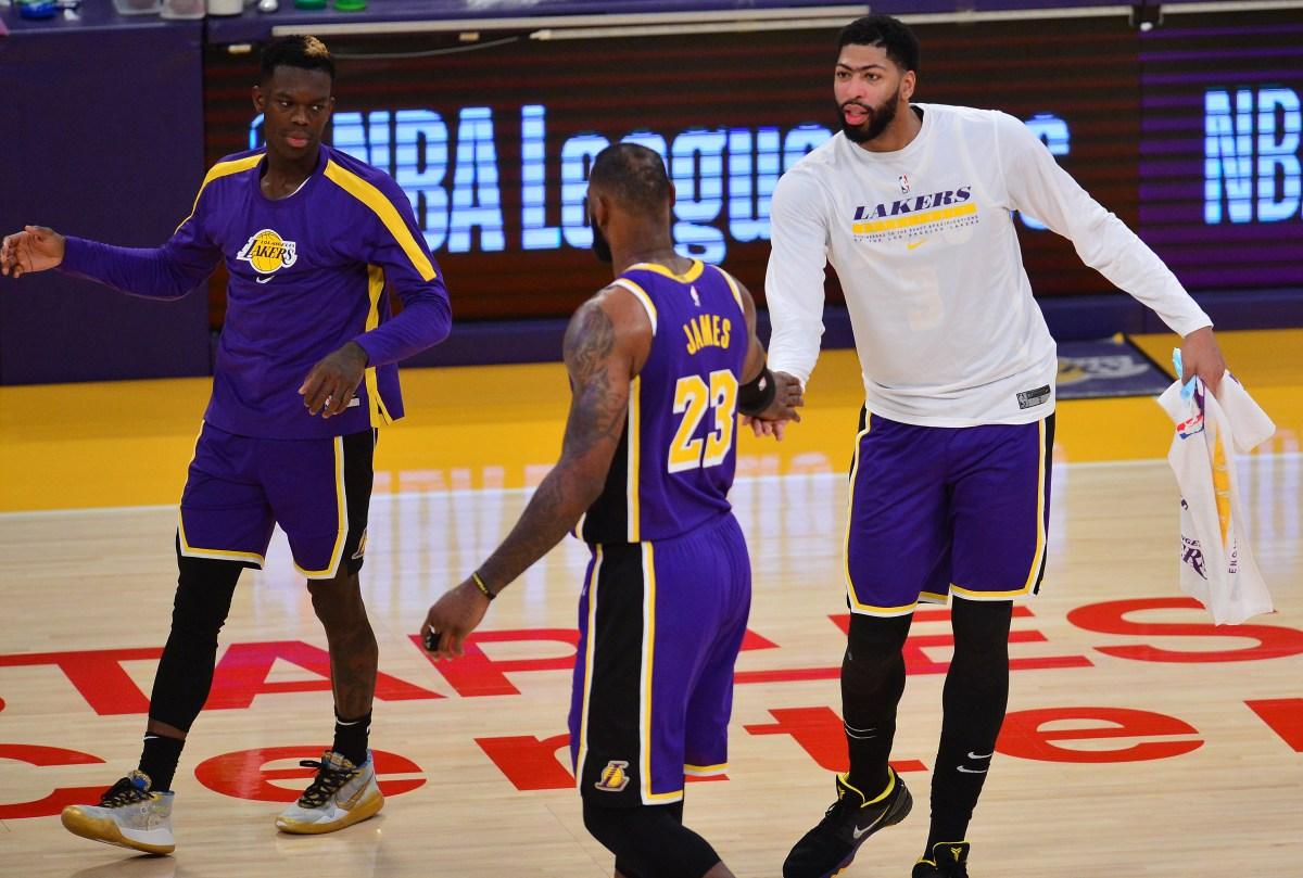 Dennis Schroeder, LeBron James and Anthony Davis