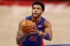 Mar 17, 2021; Detroit, Michigan, USA; Detroit Pistons forward Saddiq Bey (41) shoots a free throw against the Toronto Raptors during the fourth quarter at Little Caesars Arena.