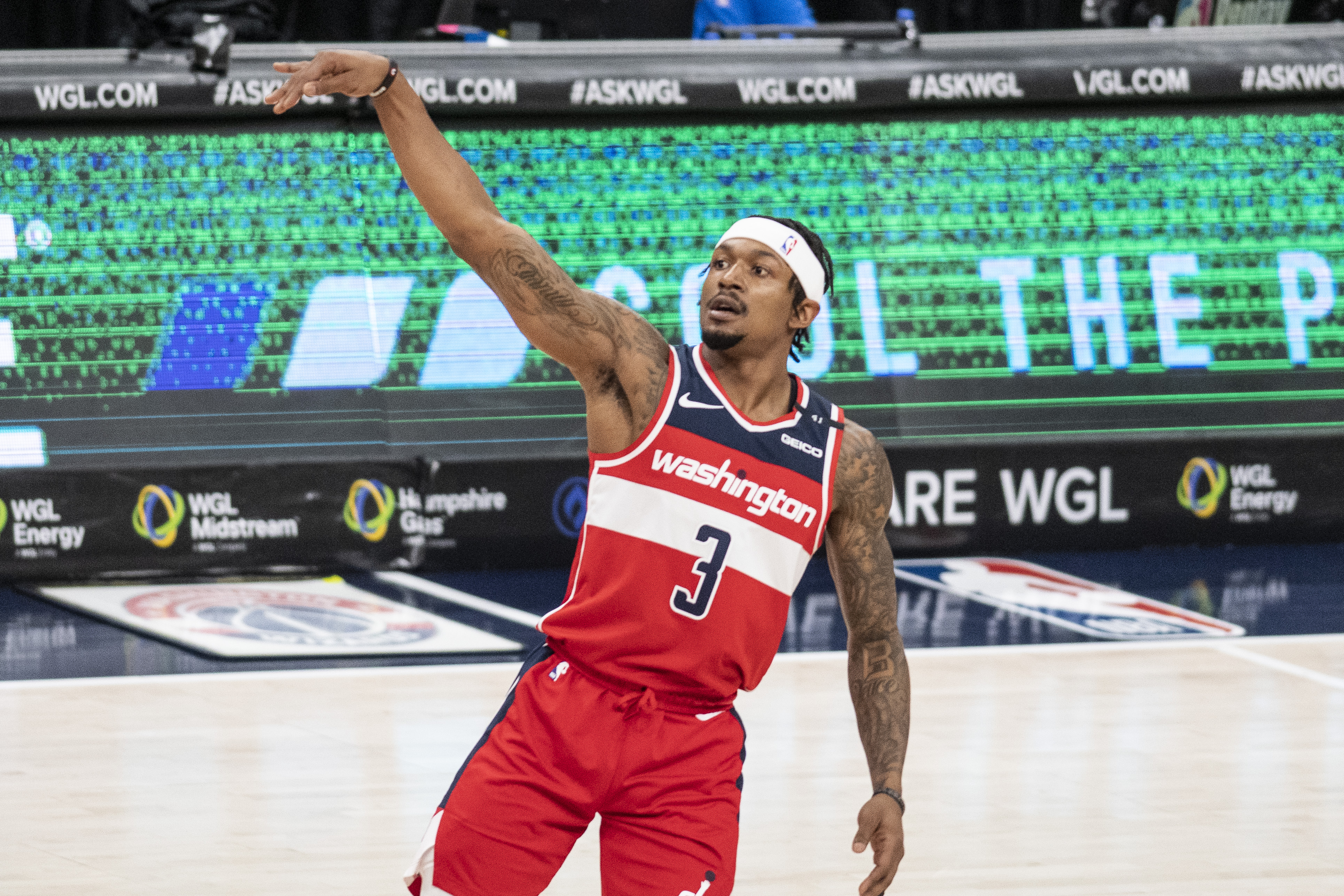 Mar 27, 2021; Washington, District of Columbia, USA; Washington Wizards guard Bradley Beal (3) follows throw on a shot during the first half against the Detroit Pistons at Capital One Arena.