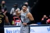 Mar 28, 2021; Tampa, Florida, USA; Portland Trail Blazers center Enes Kanter (11) reacts to a call during the fourth quarter against the Toronto Raptors at Amalie Arena.
