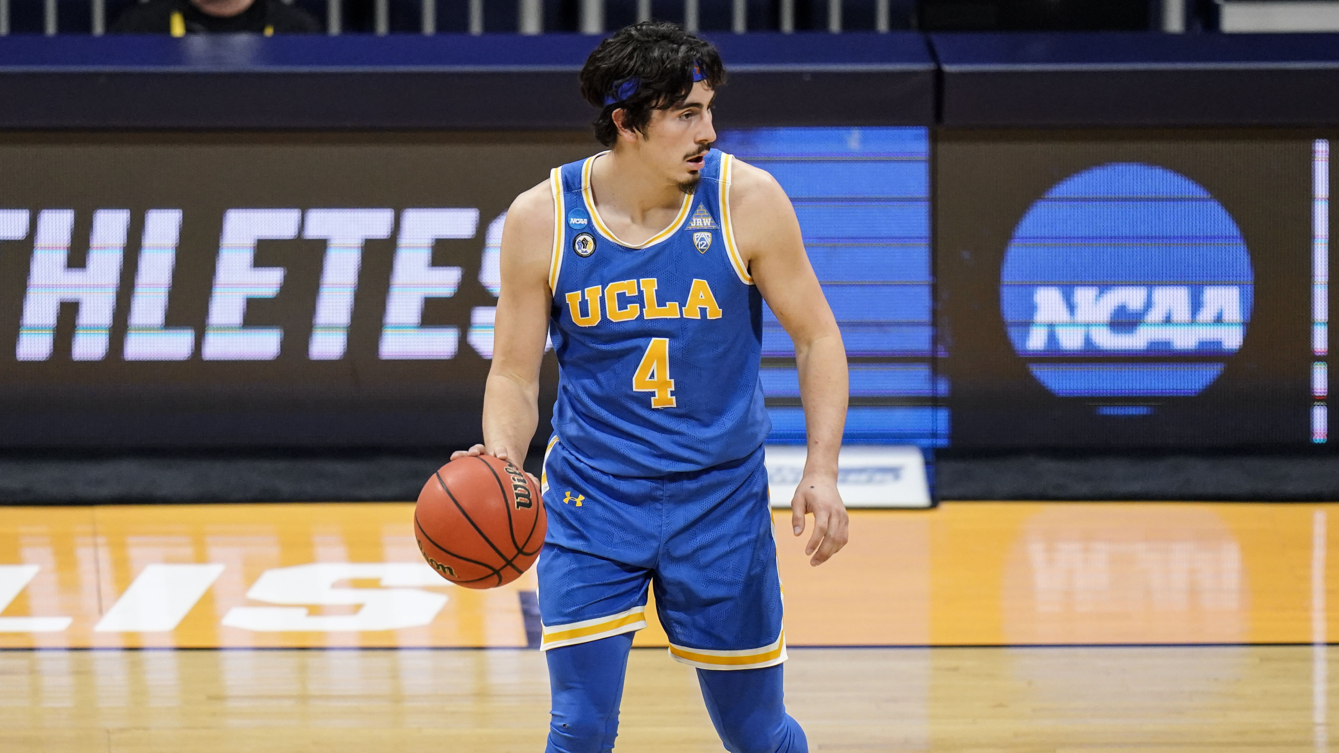 UCLA guard Jaime Jaquez Jr. (4) in action during a college basketball game in the first round of the NCAA tournament at Hinkle Fieldhouse in Indianapolis, Saturday, March 20, 2021.